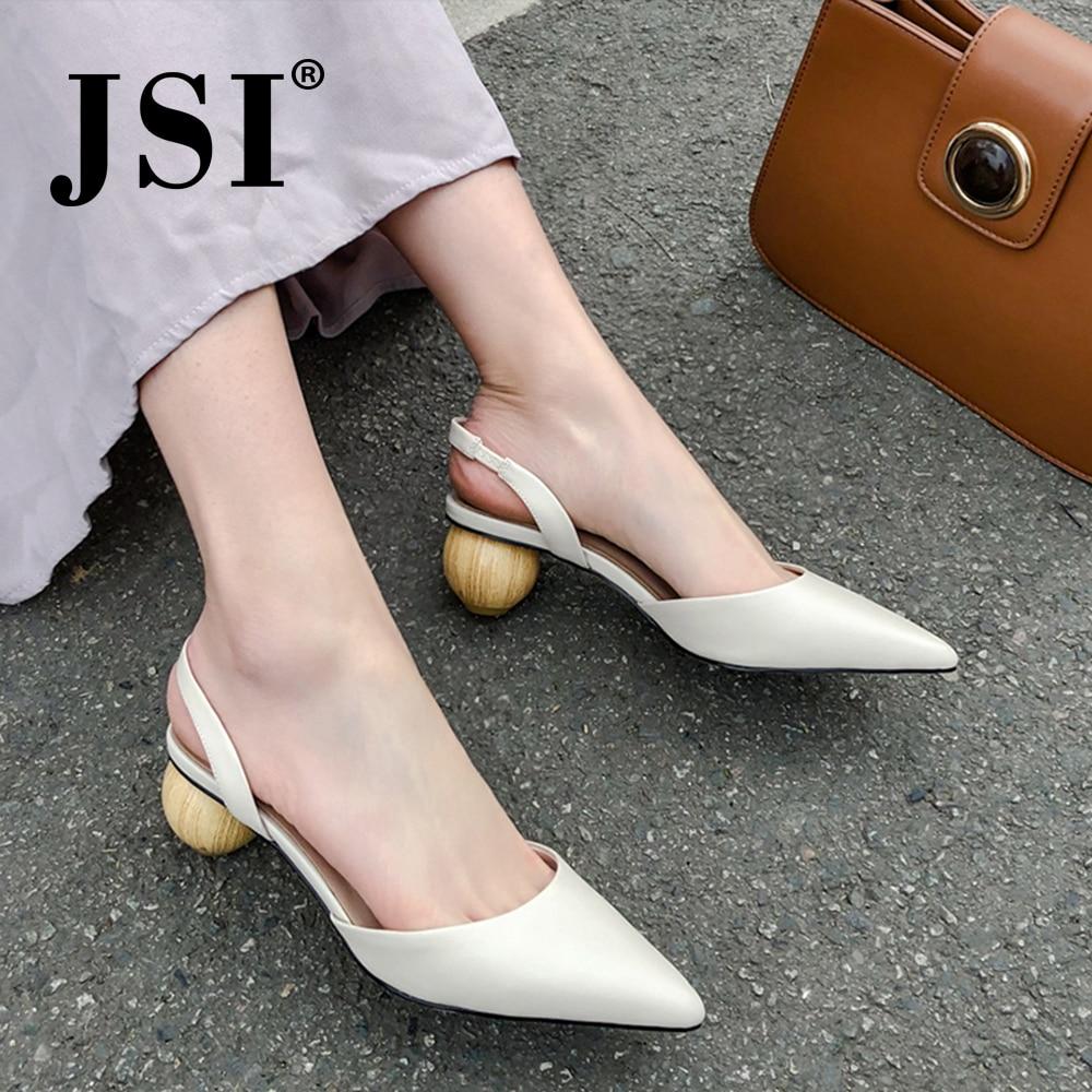 JSI Elegant Concise Women High Quality Basic Genuine Leather Stange Style Elastic Band Ladies Shoes Back