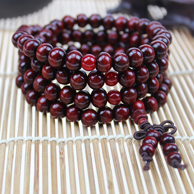 Natural 108*8 mm Beads Sandalwood Buddhist Buddha Wood Bracelets Meditation Prayer Bead Mala Bracelet Women Men Jewelry