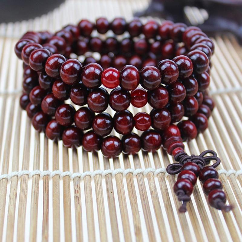 Натуральный 108*8 мм Бусы Буддийские Бусы из сандалового дерева Будда деревянные браслеты для медитации и молитвы шарик Мала Браслет Женщины ...