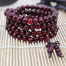 Contas de madeira budista 108x8mm, pulseiras naturais de madeira de sândalo, meditação, pulseira mala de contas de oração, mulheres, homens, joias
