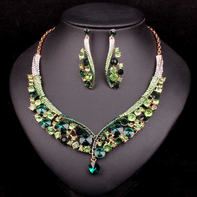 Fashion Indian Jewellery Crystal Necklace Earrings Bridal Jewelry Sets Wedding Accessories Factory Outlet Whole