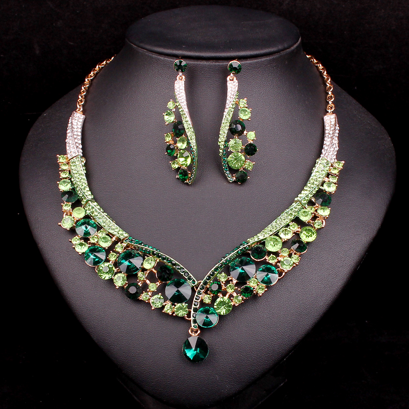 Fashion Indian Jewellery  Crystal Necklace Earrings Bridal Jewelry Sets Wedding Accessories Jewelry factory Outlet WholesaleFashion Indian Jewellery  Crystal Necklace Earrings Bridal Jewelry Sets Wedding Accessories Jewelry factory Outlet Wholesale