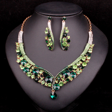 Fashion Indian Jewellery Green Crystal Necklace Earrings Bridal Jewelry Sets Wedding Accessories Christmas Jewelry For Women