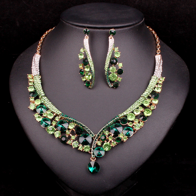 buy fashion indian jewellery green On indian crystal jewelry sets