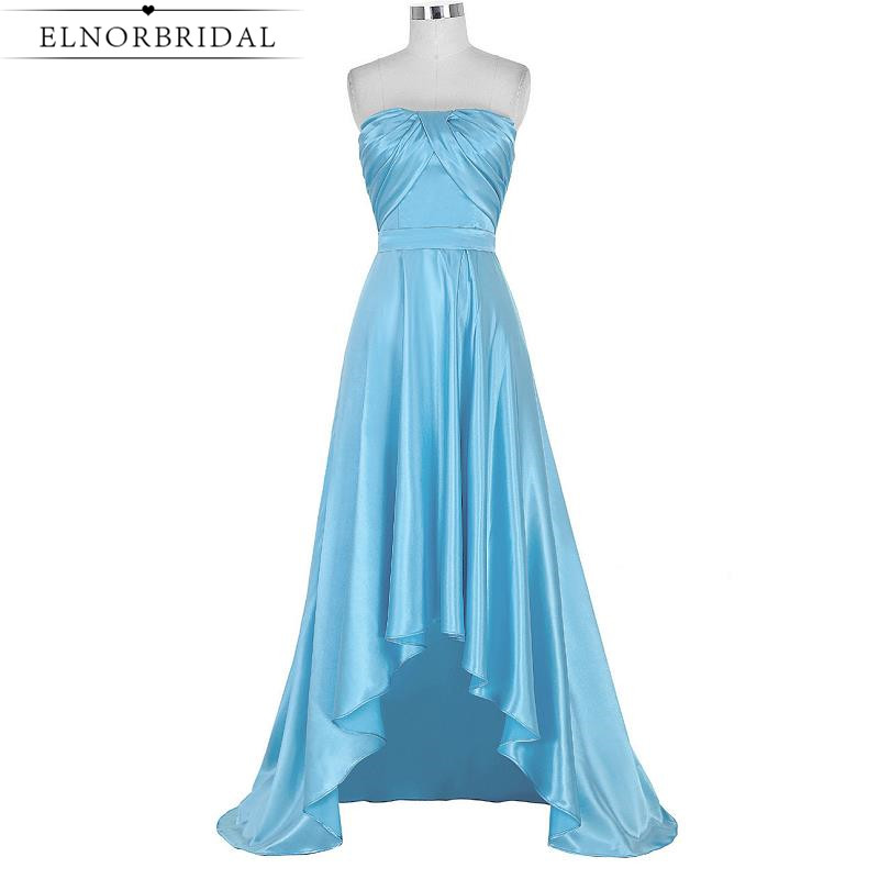 Sky Blue High Low Prom Dresses 2017 Robe De Bal Strapless Satin Formal Celebrity Dress Evening Wear Pageant Party Gowns