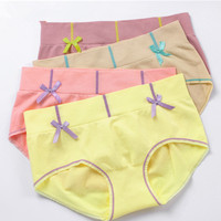 4PCS Good qualit Gril Seamless elastic soft breathable Briefs Women Underwear Panties for Women Cute bowknot Briefs AB010