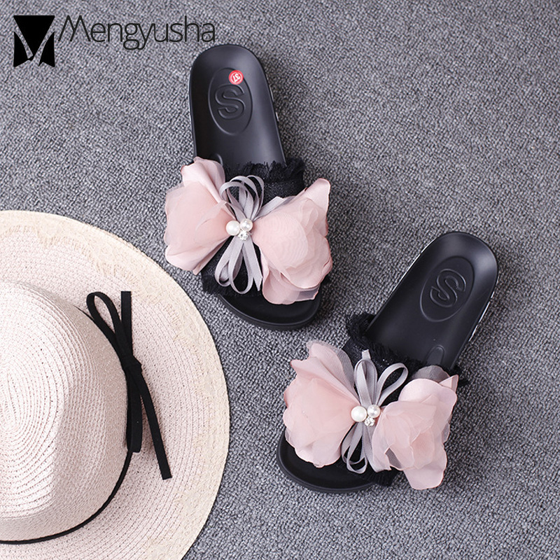 9eb468bed lace bow knot denim sandals women pink flower decorate bowtied platform  sandals female pearl flip flops tassel jeans shoes women-in Low Heels from  Shoes on ...