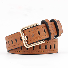 Winfox Vintage Black White Yellow Hollow PU Leather Solid Belts For Women Female Gold Mental Pin Buckle Waistband Jeans Belt