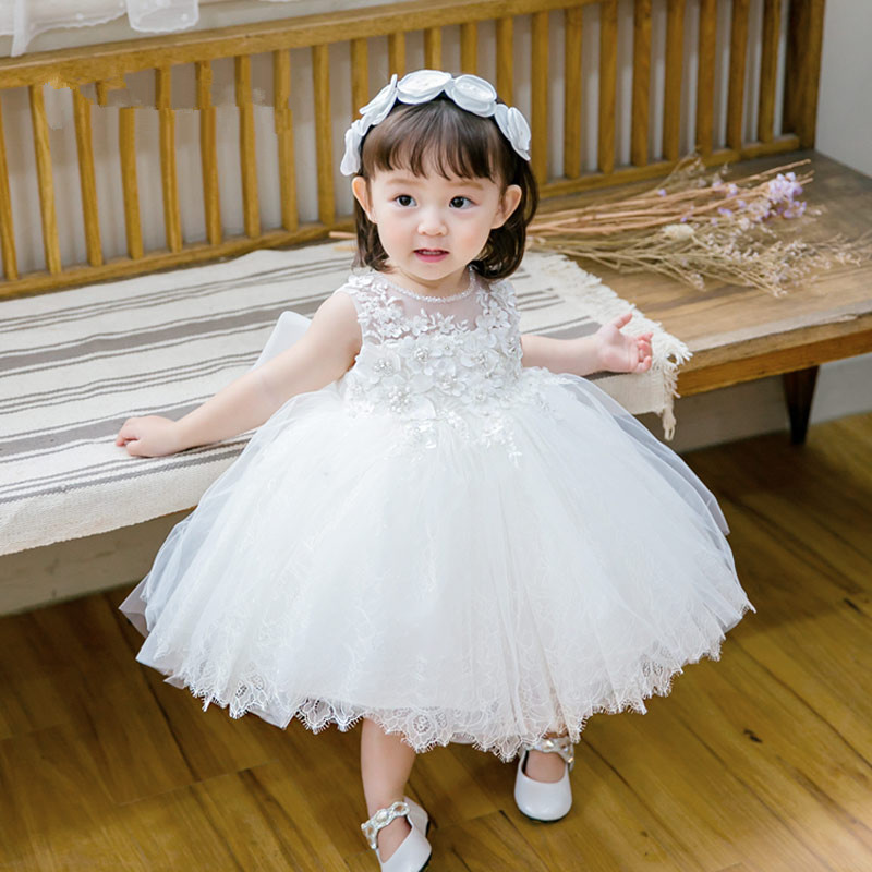 White Baby Princess Girls Dress Christening Wedding Sequin Party Kids Clothes