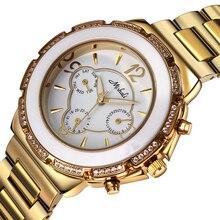 Dc1989 женщины одеваются кварцевые часы чешскими кристаллами блестящие и нержавеющей стали ремешок японии движение