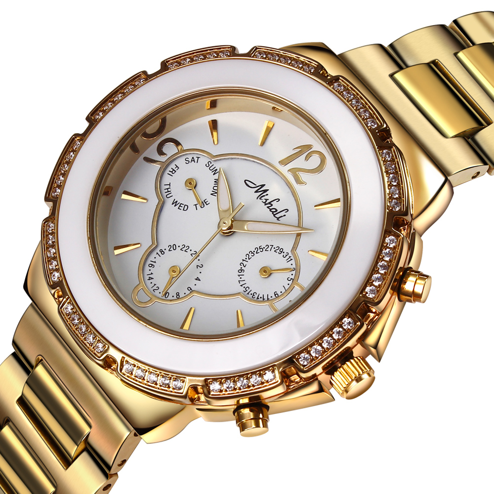 DC1989 Women Dress Quartz font b Watches b font Czech Crystals Shiny Brushed Finish Stainless Steel