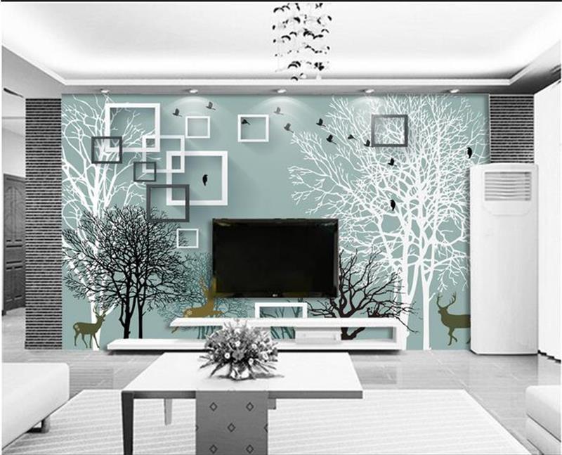 3d wallpaper custom photo non woven mural simple black for Black and white tree mural