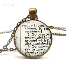 Run Dictionary Necklace Pendant, Word Jewelry Retro Style Glass Pendant Gift for Runner