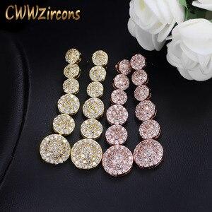 Женские серьги-капельки CWWZircons, Длинные круглые серьги из розового золота с микро фианитом, CZ206