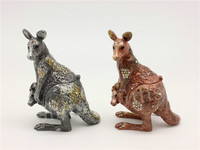 Free Shipping Metal Decorative Box Bejeweled Kangaroo Trinket Box