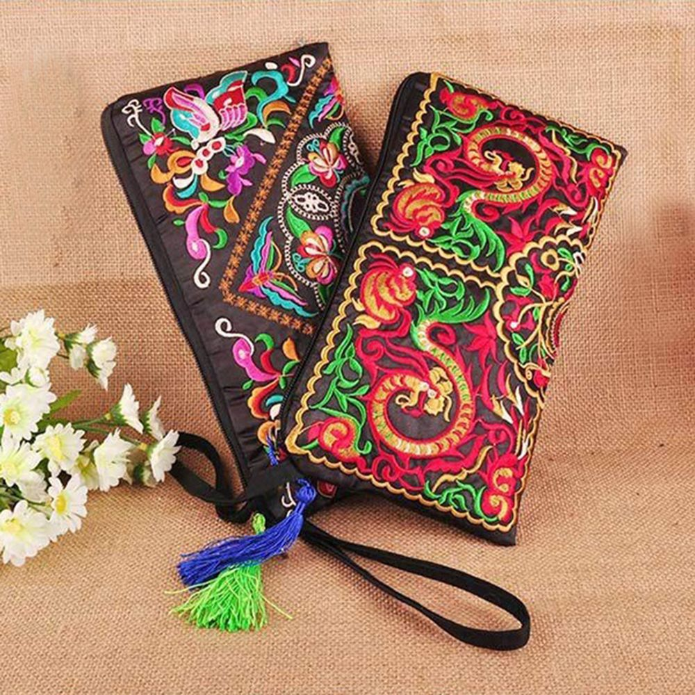 Handbag Purse Embroidered Wallet Phone-Change Women Bag Famous Floral with Tassel Long