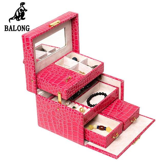 Alligator Grain Cube Shape Jewelry Display Box Organizer High