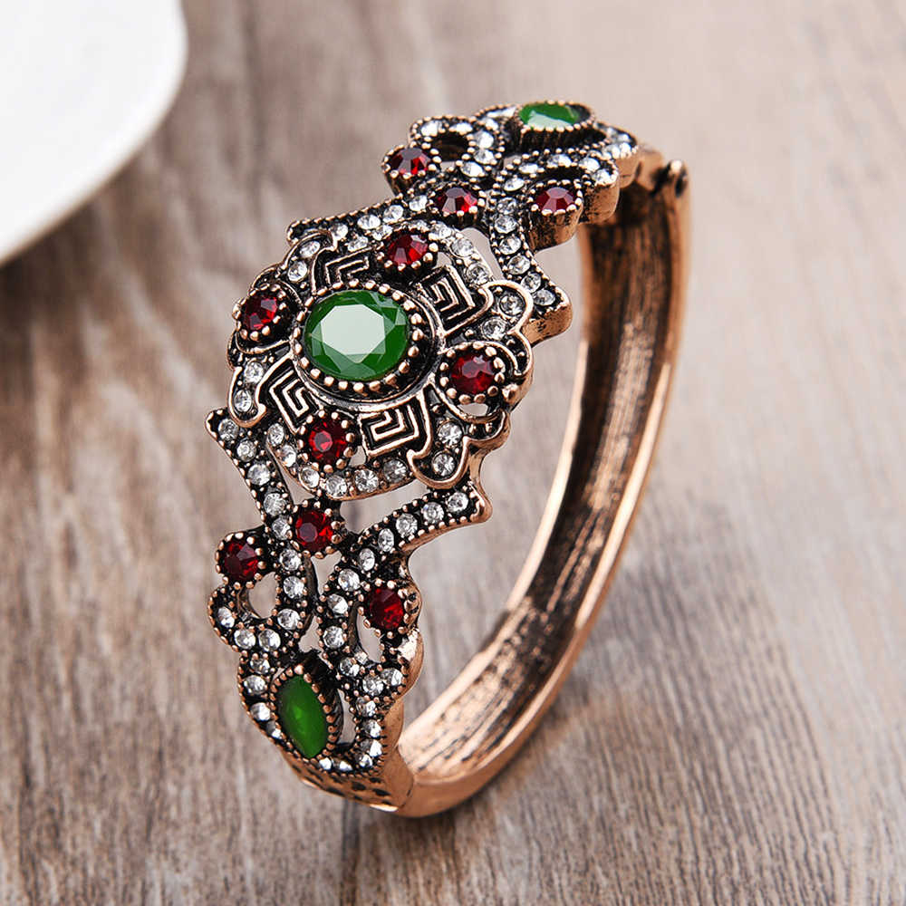 Luxury Vintage Wedding Jewelry Bracelet & Bangles Arm Cuff Top Resin Bangle Sculpture Bijoux Femme Female Accessories