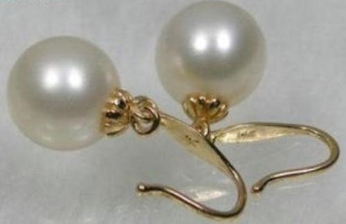 Livraison Gratuite>>>> 2016 nouveau cycle AAA + 8-7mm Mer Du Sud blanc perle boucles d'oreilles avec 14 k