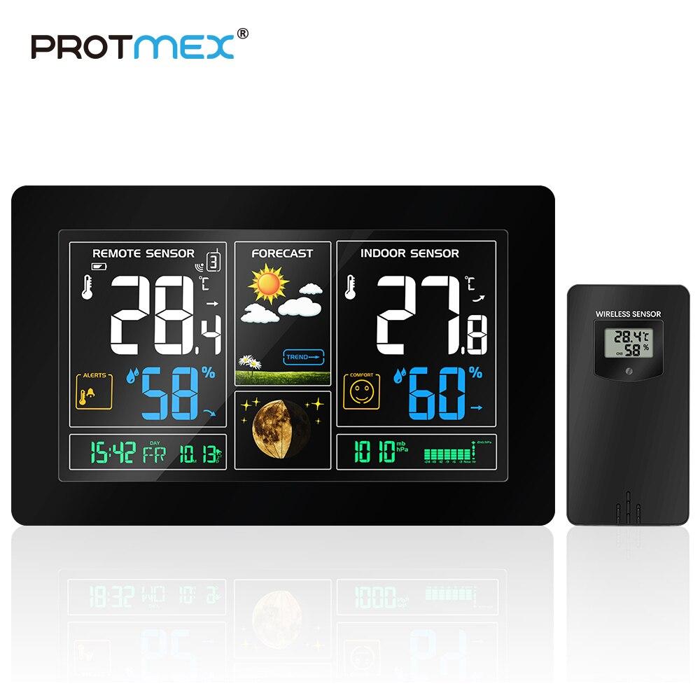 PROTMEX Enchufe europeo Estación Meteorológica Inalámbrica Sensor de humedad pantalla LCD colorida pronóstico del tiempo reloj RCC In/exterior
