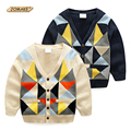 Colorful Plaid Boys Sweater New Autumn Baby Boy Clothes V-Neck Single-breasted Kids Knitted Cardigan Coats Fashion Brand Costume