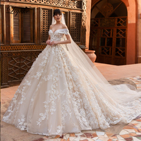 Buy 1 Get 1 ! Liyuke Exquisite and Luxurious Ball Gown Wedding Dress Off The Shoulder Wedding Gown with Veil Gift