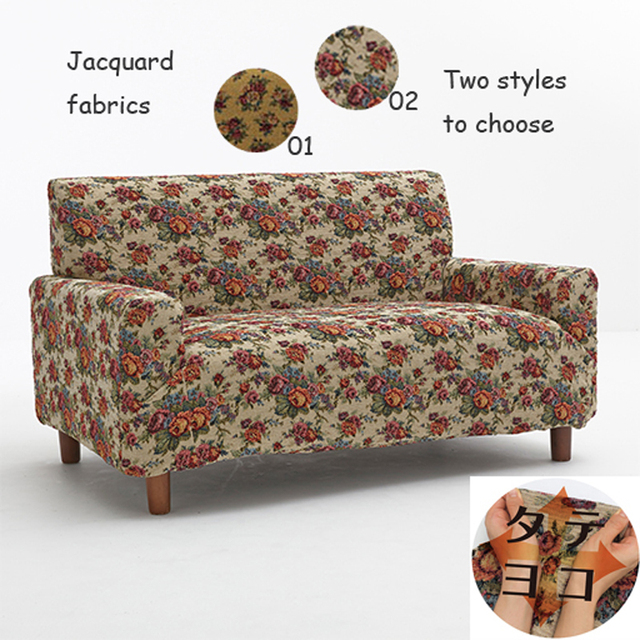 Sofa Set Jacquard Fabric Non Slip Elastic Flower Blended Waterproof Cloth Durable One