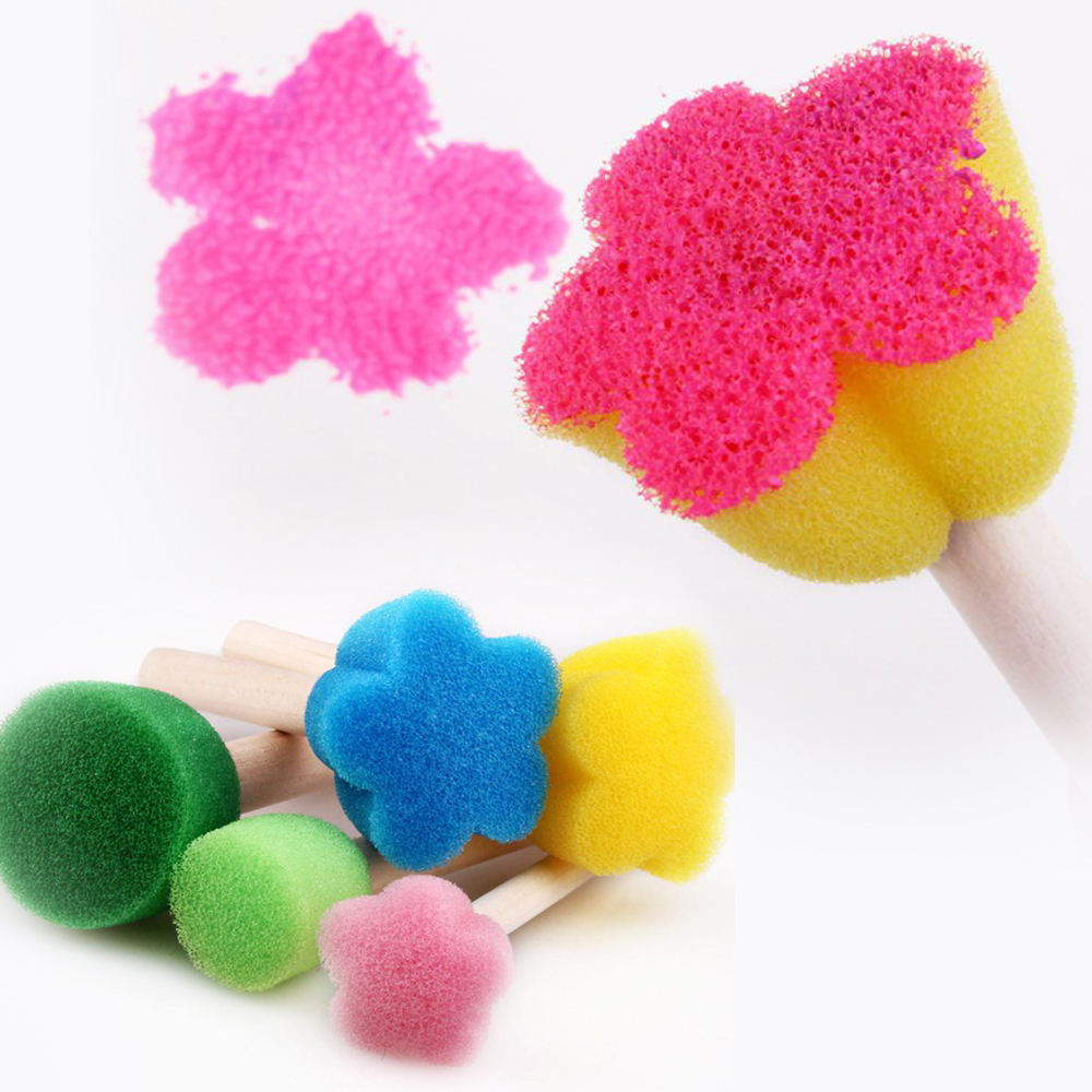 5pcs/set 5 Colors Mini Floral Sponge Seals Sponge Seal Plum Blossom Shape Round
