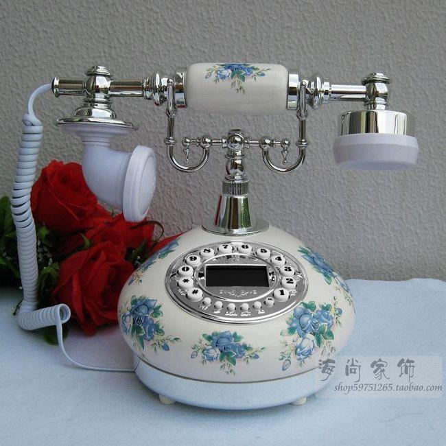 Новый телефон/Керамическая Ретро голубой и белый фарфор дом стационарный/Caller Технология дисплея