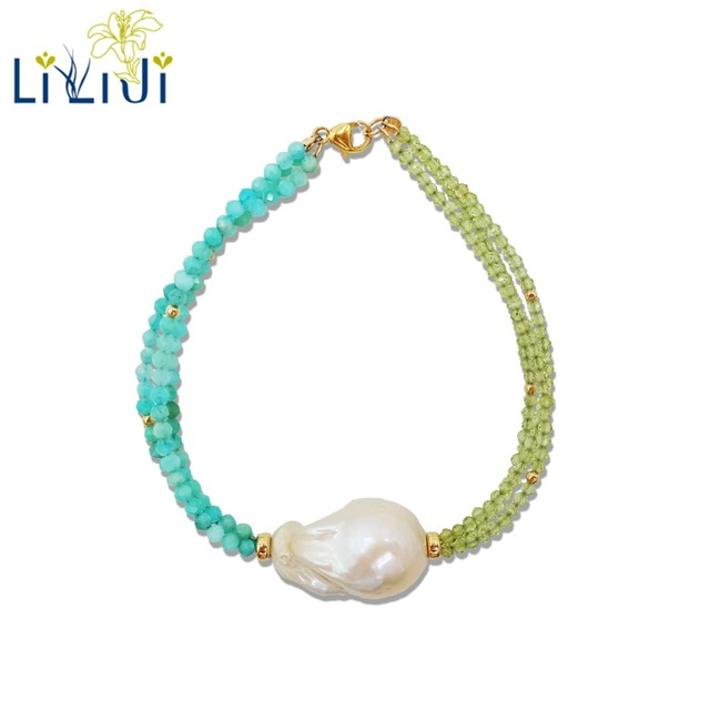 LiiJi Unique Natural Stone Peridots Amazonite Baroque Pearl 925 Sterling Silver Gold Color/Goldfilled  Bracelet