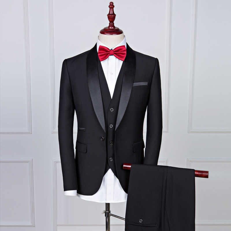 Baru Disesuaikan Selendang Hitam Kerah Groom Perapi Pernikahan Pria Terbaik Sesuai dengan 3 Buah (Jaket + Celana + Rompi) royal Blue Man Suit
