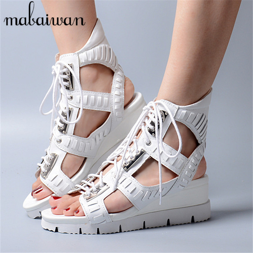 White Peep Toe Lace up Women Genuine Leather Sandals Full Metal Wedges Punk Style Casual Wedge Shoes Woman Gladiator Sandals