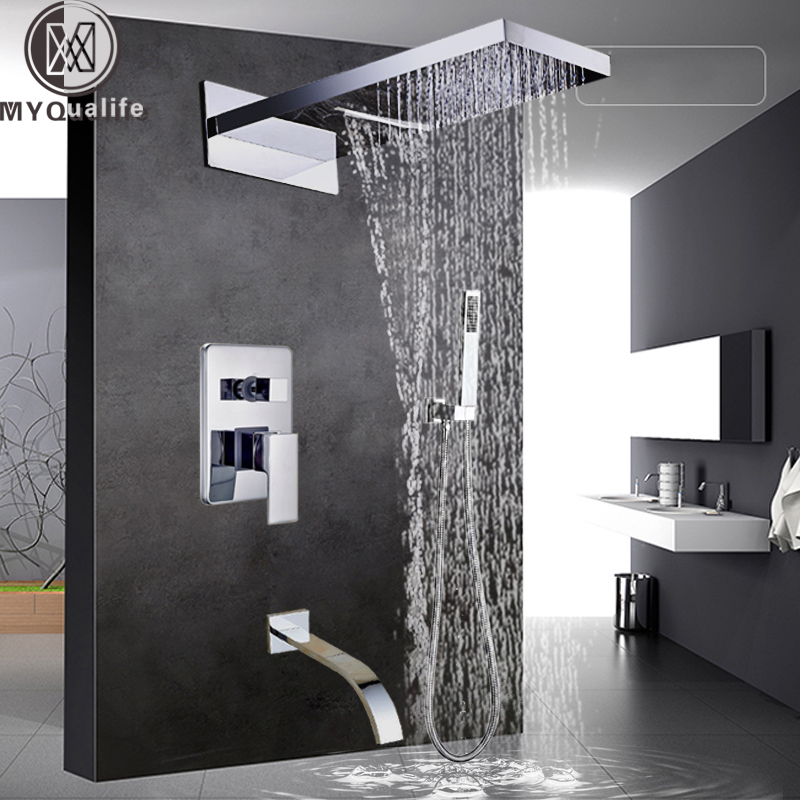 Chrome Waterfall Rain Shower Faucet System Single Handle Bathroom Brass Shower Set with Handshower Spout Mixer Tap