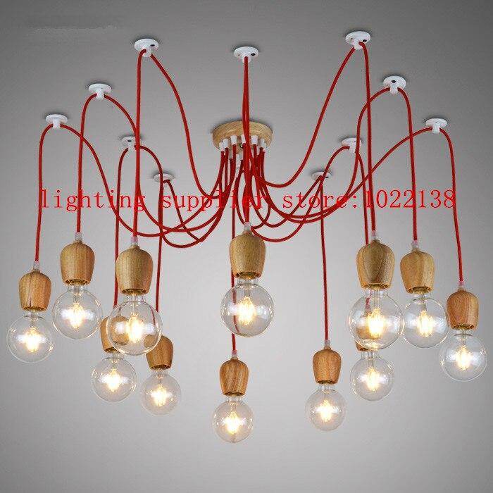 Modern chandeliers lamp color wire wood E26/E27 lampholder 1-6-10 wood pendant Restaurant bar LED lighting light fixture NO BLUB