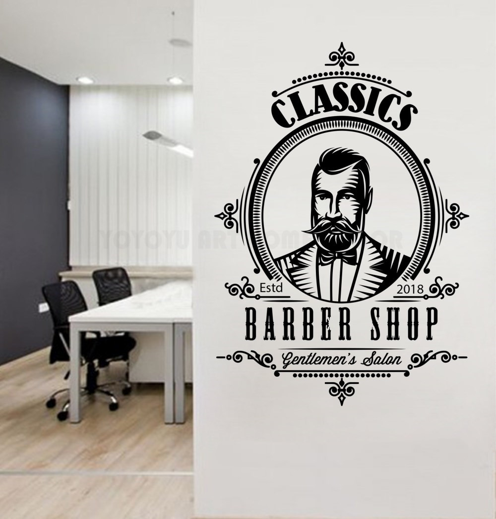 Removable barber shop wall decal gentlemens salon men hair salon wall window sticker personalized year haircut decal logo y148