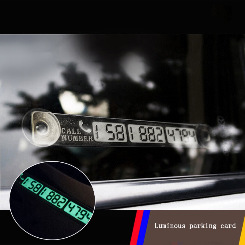 Car Luminous Parking Card Temporary Telephone Phone Number Card Notification Night Sucker Plate Car Styling Sign Notice in Ornaments from Automobiles Motorcycles