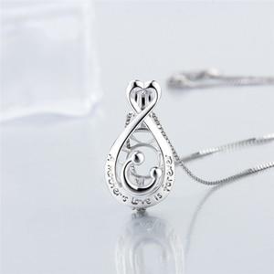 Image 4 - CLUCI 3 قطعة 925 فضة البيضاوي على شكل سحر قلادة الفضة 925 قلادة للنساء عيد الأم هدية مجوهرات SC354SB