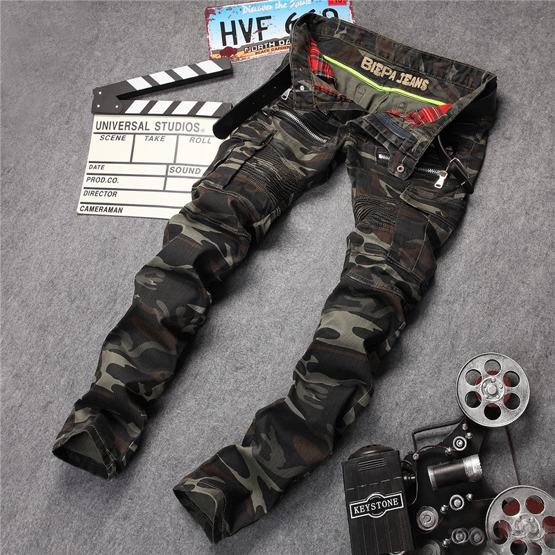2017 New Fashion Mens Slim Fit Patchwork Pencil Soldier Biker Camouflage Jeans With Zipper & Pockets Military Style Famous Brand 2017 biker jeans mens high stretched zipper distressed jeans new fashion pantalones vaqueros hombre bmy1903