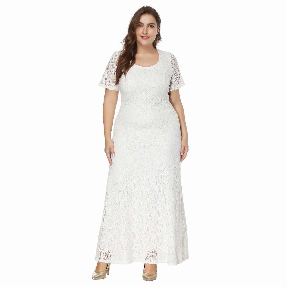 2018 Summer women Elegant plus size lace long Dress female Ankle-Length  maxi Dresses lady 020c17ebd6da