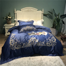 New Luxury Royal Gold Embroidery 100S/1000TC Egyptian cotton Bedding set Blue Duvet cover Bed sheet Linen Pillowcases 4pcs