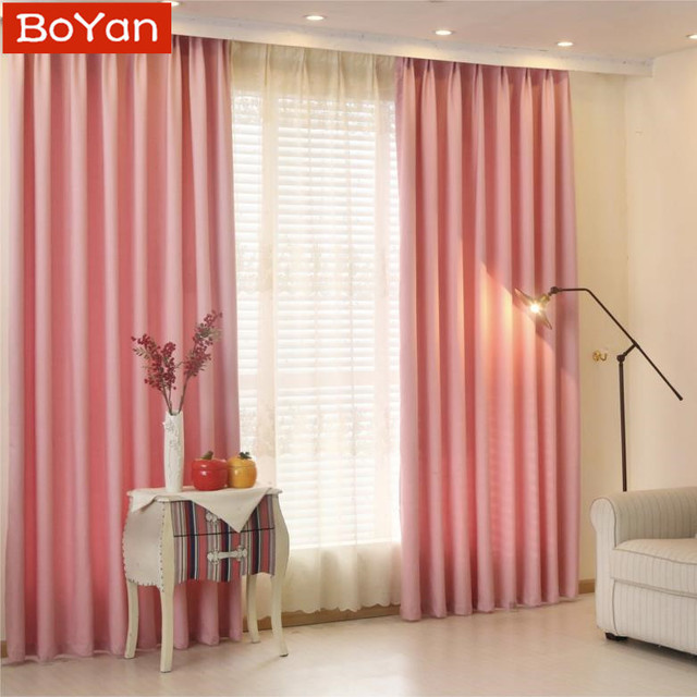 Latest modern solid pink shade window blackout curtains for kitchen ...