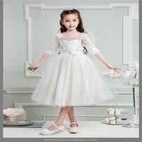 Hot Sell Toddler Kid Girls Dress Long Sleeve Lace Chiffon Princess Wedding Bridesmaid Pageant Dress