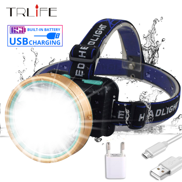 LED Headlamp 20W T6 LED Headlight Micro USB Rechargeable Built-in Head Torch Camping Hunting Fishing Waterproof Flashlight