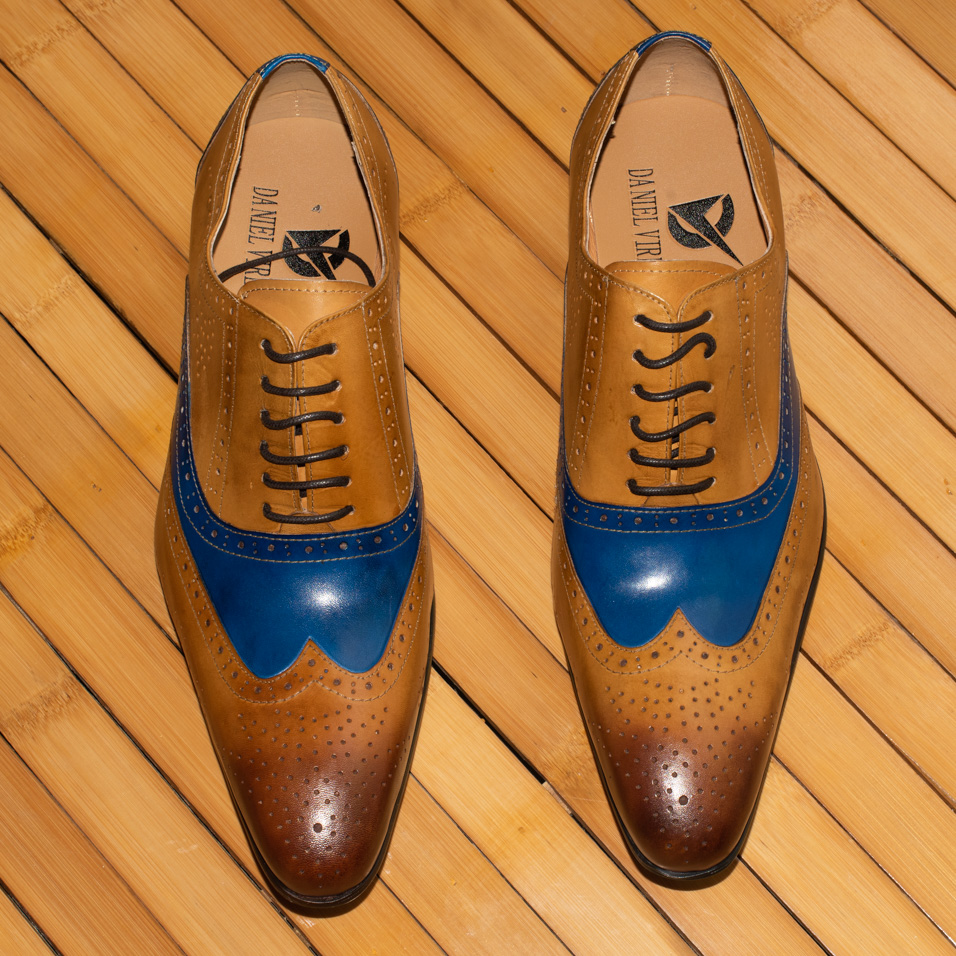 Men Dress Wedding Shoe Genuine Leather Blue Brown Mixed Colors Luxury Fashion Office Formal Pointed Toe Brogue Oxfords Shoes