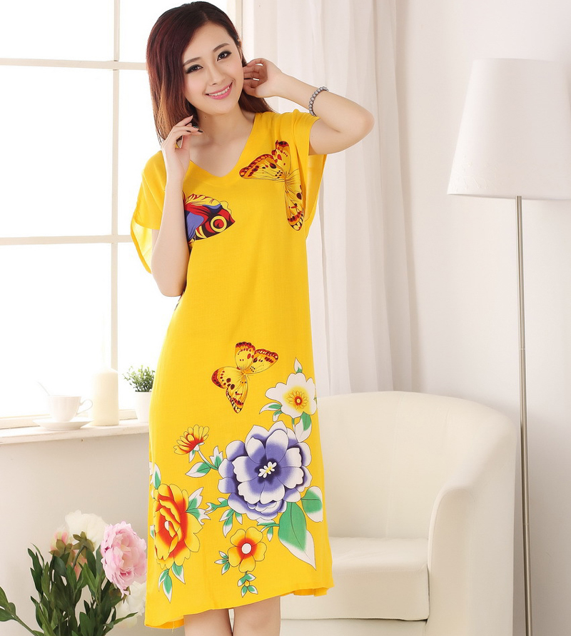 ᐂStylish Yellow Women\'s Summer Casual Robes Dress Print ...