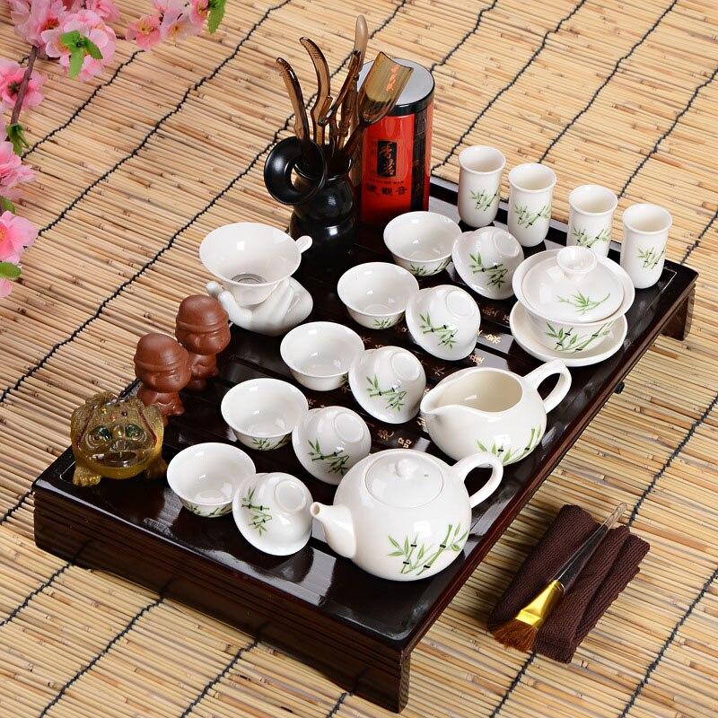 Offres spéciales idée cadeau fête des pères ensemble de thé Kung Fu boisson cérémonie de thé chinois avec Table à thé sur huit pièces ensemble cadeau haut de gamme - 6