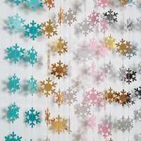 4m papier artificiel flocon de neige guirlande drapeaux suspendus papier artisanat fournitures noël ornement nouvel an flocon de neige décoration