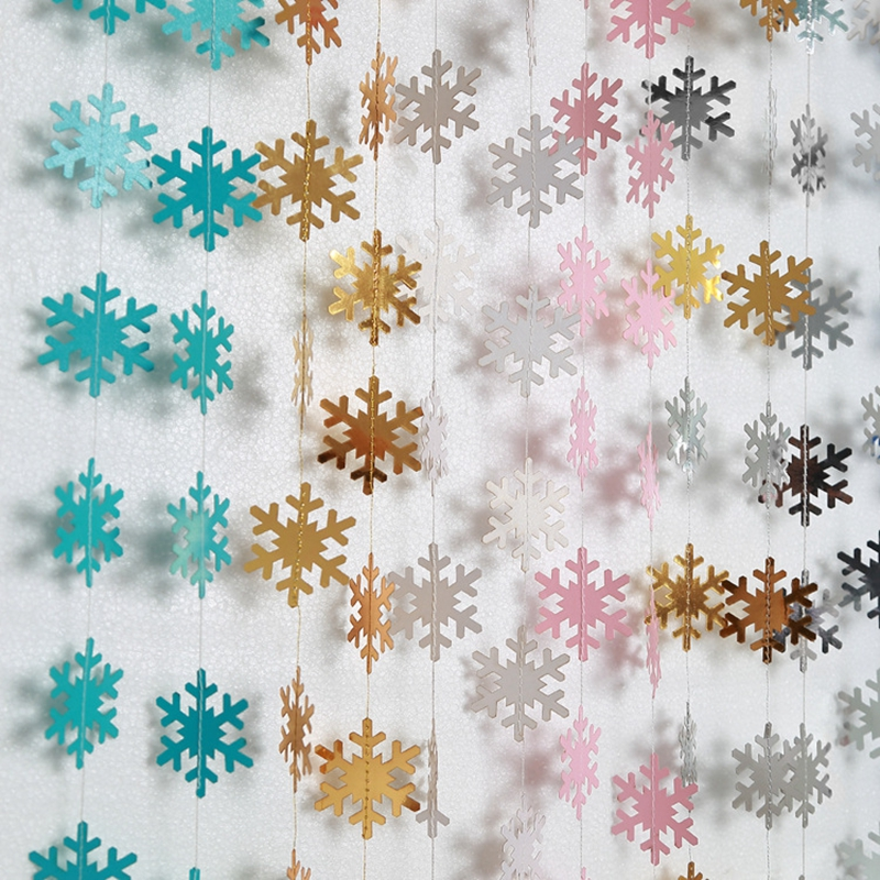 4m Paper Artificial Snowflake Garland Flags Hanging Craft Supplies Christmas Ornament New Year Decoration