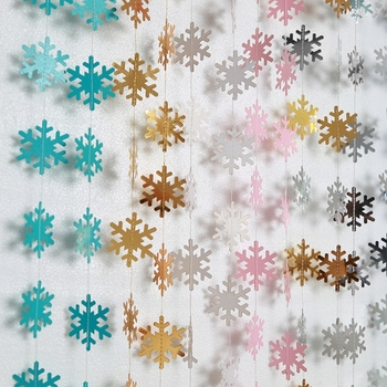 Paper Artificial Snowflake Garland Flags Hanging Paper Craft Supplies Christmas Ornament New Year Snowflake Decoration Winter christmas decoration set pink let it snow kit paper snowflake fans navidad new year ornaments new