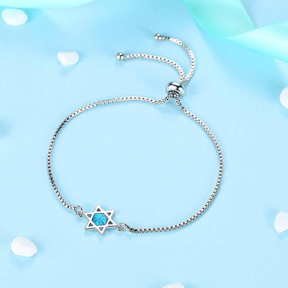 ELESHE модный геометрический опаловый браслет с гексаграммой для женщин, серебряный браслет на цепочке, женские свадебные украшения для помолвки